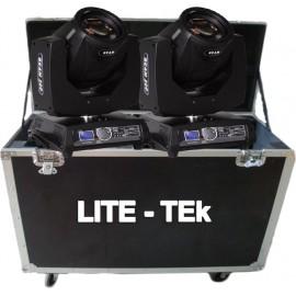 Par de cabezas moviles Beam 200 Lite-Tek (Tipo Sharpy) con estuche doble.