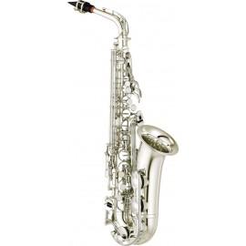 Saxofón Alto Yamaha YAS-280S estándar con llave de Fa sostenido y Fa frontal acabado plateado