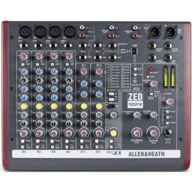 Mezcladora de audio compacta de 10 canales con efectos y conexión USB Allen & Heat ZED10FX