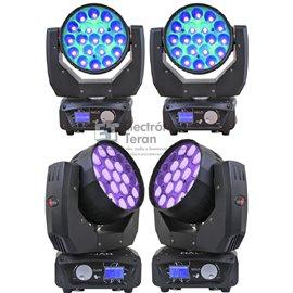 Estuche con 4 Cabezas Móviles Lite-Tek HALO Wash LED con Zoom y efecto Beam