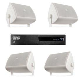 Paquete de 4 bocinas de superficie y amplificador de audio QSC
