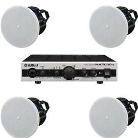 Paquete de audio con 4 bocinas de plafón y amplificador Yamaha