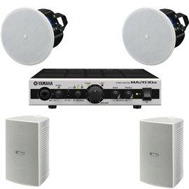 Paquete de audio 2 bocinas de superficie y 2 bocinas de plafón y amplificador Yamaha