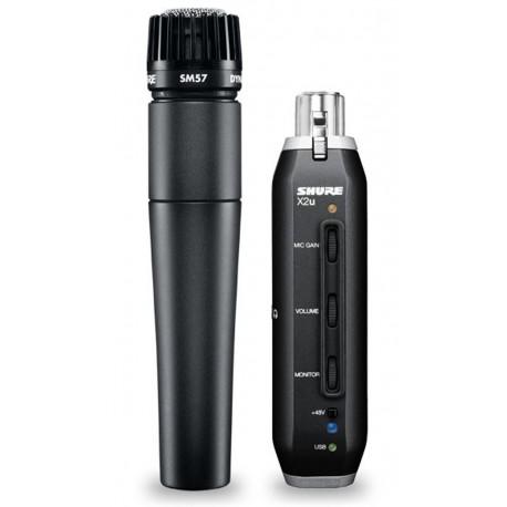 Micrófono Shure SM57-LC + adaptador USB Shure X2u