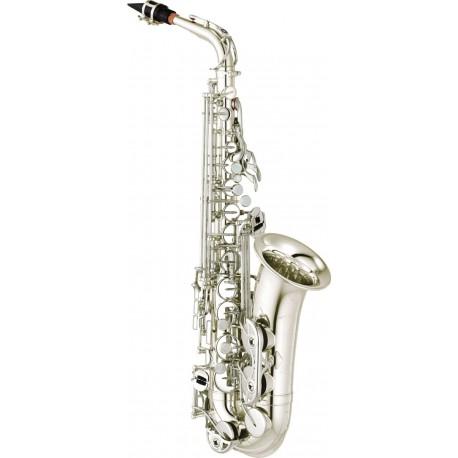 Saxofón Alto Yamaha YAS-480S intermedio con llave de Fa y Fa frontal plateado