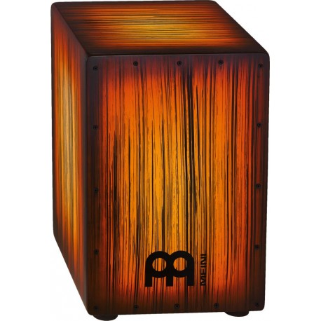 Cajon de percusión Meinl HEADLINER® Designer Strings cajons HCAJ2AMTS TIGER STRIPED color AMBER