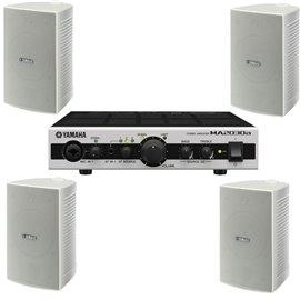 Paquete de audio con 4 bocinas de superficie Yamaha VS4 y amplificador MA2030a