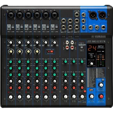 Mezcladora de audio Yamaha MG12XUK de 12 canales con efectos y conexión USB
