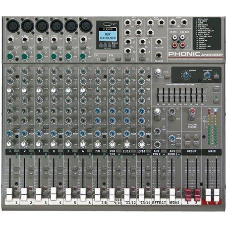 Mezcladora de audio Phonic AM642DP de 14 canales con efectos