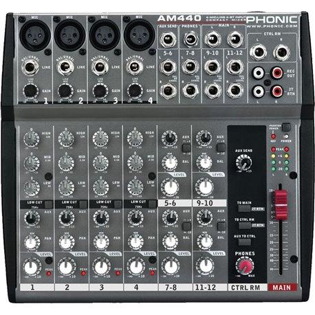 Mezcladora de audio Phonic AM440 4 canales mono 4 estereo sin efectos
