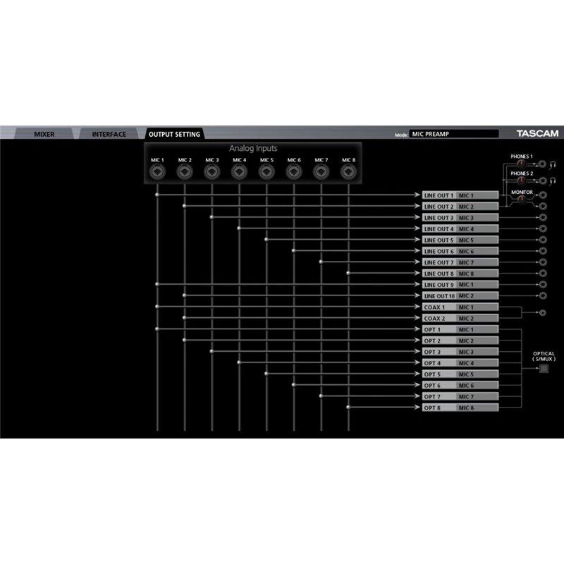 Interfaz de audio USB/MIDI/Matrix Mixer digital con DSP 20