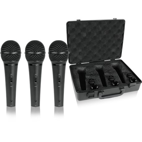 Paquete de 3 micrófonos con estuche Behringer XM1800S
