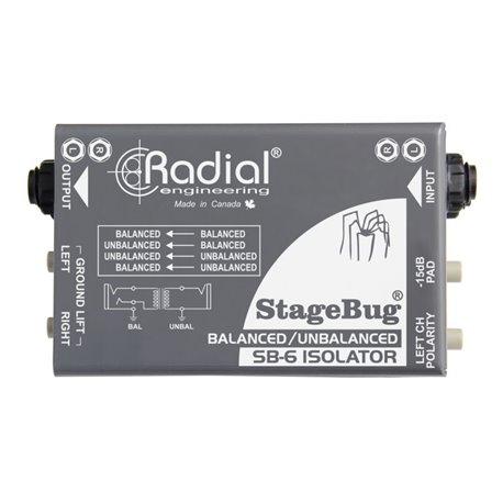 Aislador pasivo para señales balanceadas y no balanceadas StageBug SB-6 Radial