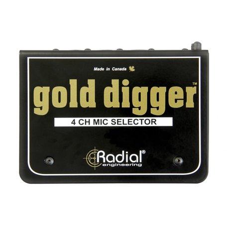 Selector y Switcher de micrófonos de 4 canales Gold Digger Radial Engineering