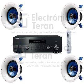 Sistema de audio Yamaha Receptor Hi-Fi estéro R-N602 y 4 bocinas de plafón
