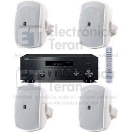 Sistema de audio Yamaha Receptor Hi-Fi estéro R-N602 y 4 bocinas de pared / superficie