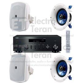 Sistema de audio Yamaha Receptor Hi-Fi estéro R-N602 2 bocinas de pared y 2 de plafón