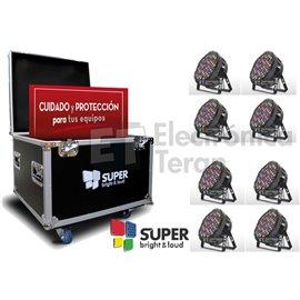 Estuche con 8 piezas de PAR830 80 leds de 3 watts RGBW