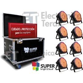 Estuche con 8 piezas de PAR580 80 Leds de 3 watts RGB